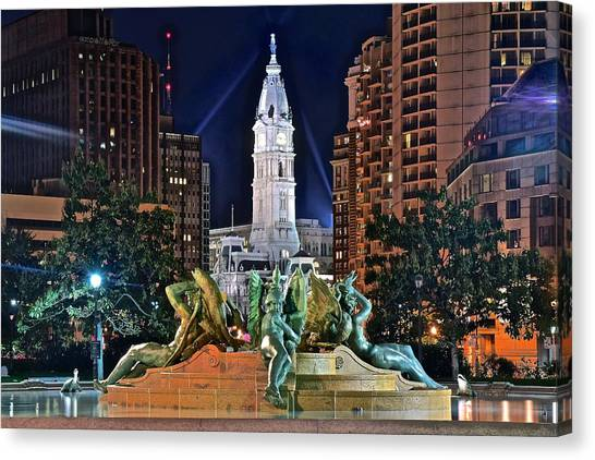 Flyer Canvas Print - Philadelphia City Hall by Frozen in Time Fine Art Photography