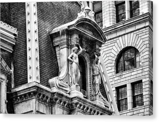Canvas Print featuring the photograph Philadelphia City Hall Window In Black And White by Bill Cannon