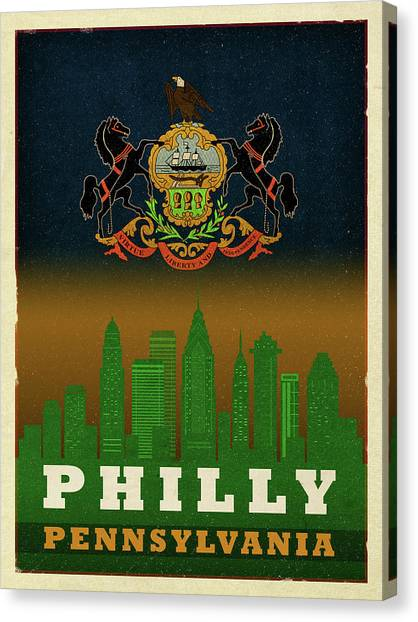 Philly Canvas Print - Philadelphia City Skyline State Flag Of Pennsylvania Art Poster Series 014 by Design Turnpike