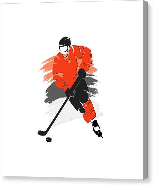 Philadelphia Flyers Canvas Print - Philadelphia Flyers Player Shirt by Joe Hamilton