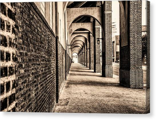Canvas Print featuring the photograph Philadelphia - Franklin Field Archway In Sepia by Bill Cannon