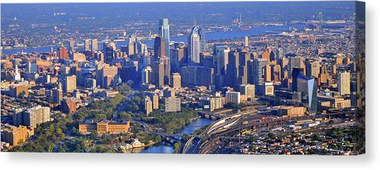 Philadelphia Skyline Canvas Print - Philadelphia Museum Of Art And City Skyline Aerial Panorama by Duncan Pearson