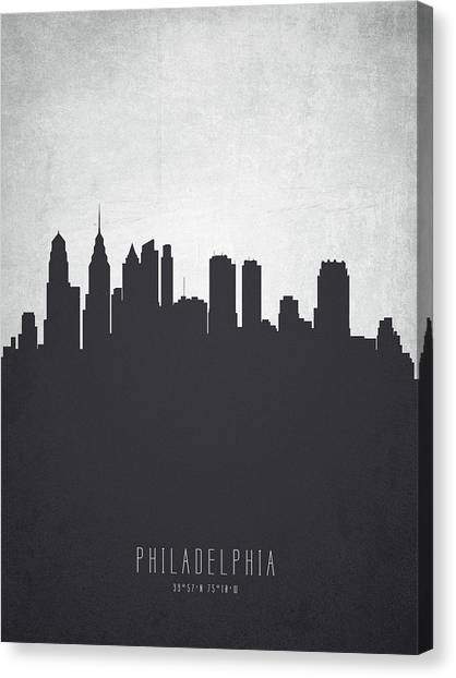 Philadelphia Skyline Canvas Print - Philadelphia Pennsylvania Cityscape 19 by Aged Pixel
