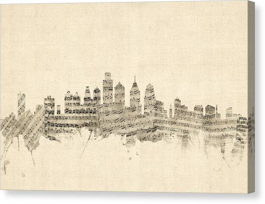 Philadelphia Skyline Canvas Print - Philadelphia Pennsylvania Skyline Sheet Music Cityscape by Michael Tompsett