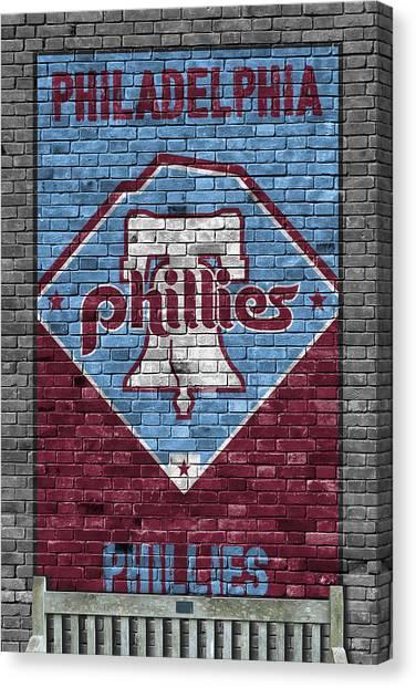 Philadelphia Phillies Canvas Print - Philadelphia Phillies Brick Wall by Joe Hamilton