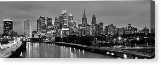 Philadelphia Skyline Canvas Print - Philadelphia Philly Skyline At Dusk From Near South Bw Black And White Panorama by Jon Holiday