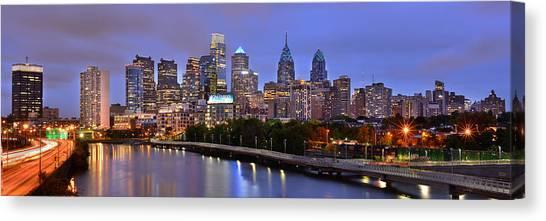 Philadelphia Skyline Canvas Print - Philadelphia Philly Skyline At Dusk From Near South Color Panorama by Jon Holiday
