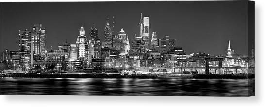 Philadelphia Phillies Canvas Print - Philadelphia Philly Skyline At Night From East Black And White Bw by Jon Holiday