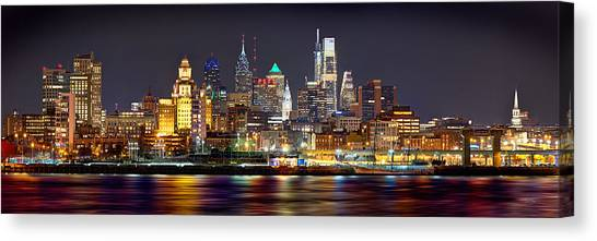Philadelphia Phillies Canvas Print - Philadelphia Philly Skyline At Night From East Color by Jon Holiday