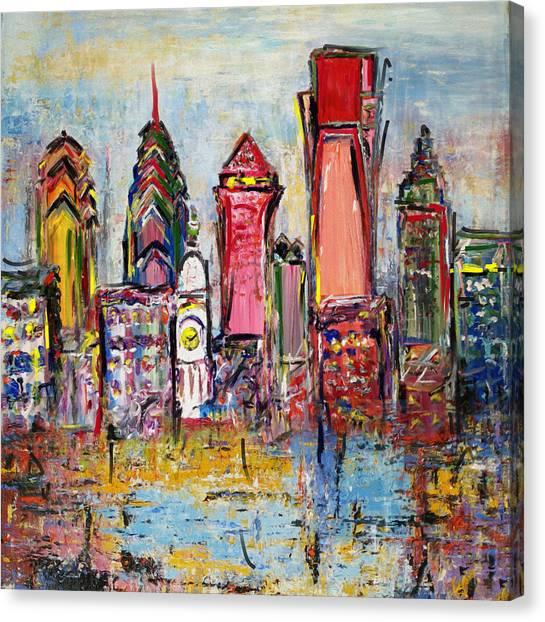 Philadelphia Skyline Canvas Print - Philadelphia Skyline 232 1 by Mawra Tahreem