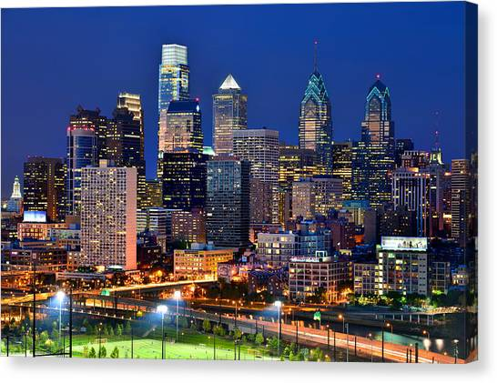 Philadelphia Phillies Canvas Print - Philadelphia Skyline At Night by Jon Holiday