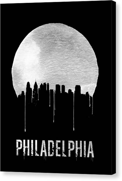 Philadelphia Phillies Canvas Print - Philadelphia Skyline Black by Naxart Studio