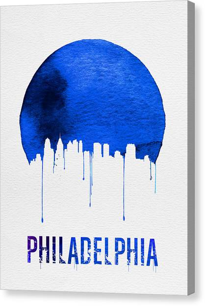 Philadelphia Canvas Print - Philadelphia Skyline Blue by Naxart Studio