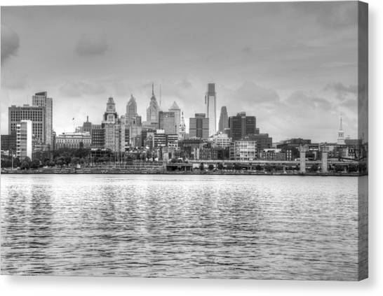 Philadelphia Skyline In Black And White Canvas Print