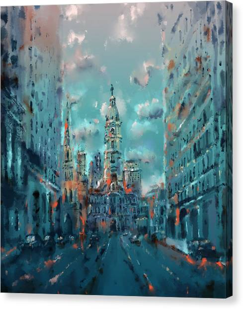 Philadelphia Skyline Canvas Print - Philadelphia Street by Bekim Art