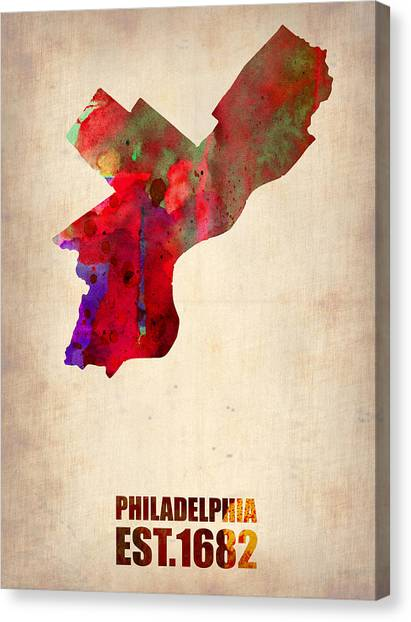 Philadelphia Canvas Print - Philadelphia Watercolor Map by Naxart Studio