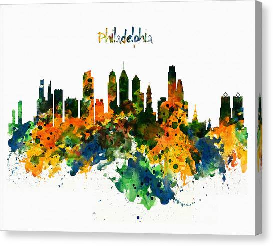 Philadelphia Watercolor Skyline Canvas Print