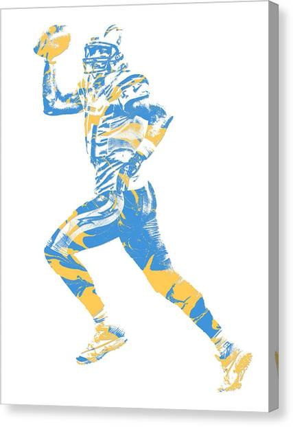 Los Angeles Chargers Canvas Print - Philip Rivers Los Angeles Chargers Pixel Art 10 by Joe Hamilton