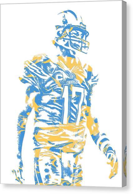 Los Angeles Chargers Canvas Print - Philip Rivers San Diego Los Angeles Chargers Pixel Art 4 by Joe Hamilton