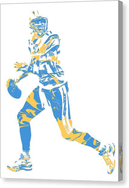 Los Angeles Chargers Canvas Print - Philip Rivers San Diego Los Angeles Chargers Pixel Art 5 by Joe Hamilton