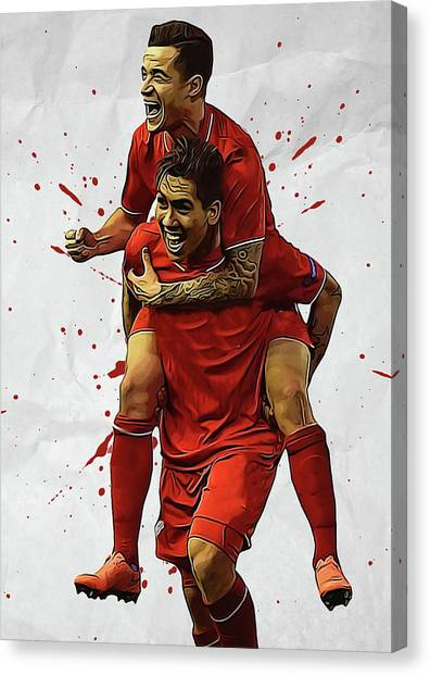Liverpool Fc Canvas Print - Philippe Coutinho Roberto Firmino  by Semih Yurdabak