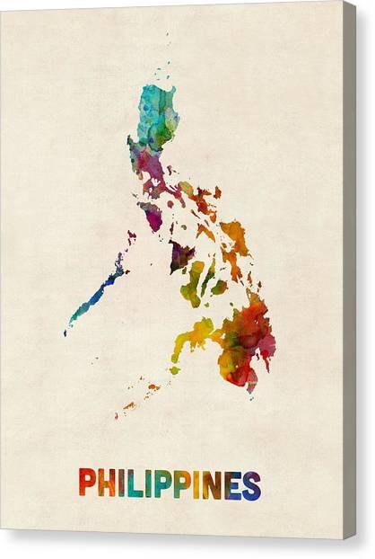 Urban Art Canvas Print - Philippines Watercolor Map by Michael Tompsett