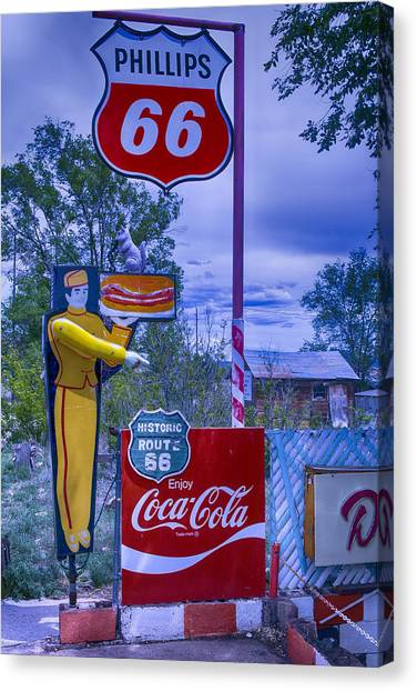 Historic Route 66 Canvas Print - Phillips 66 Sign by Garry Gay