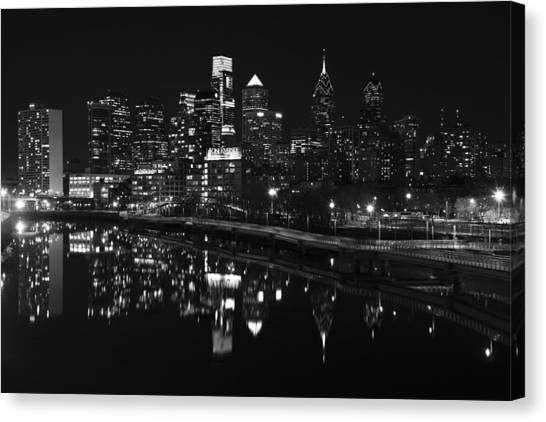 Philly And The Schuylkill Bw Canvas Print