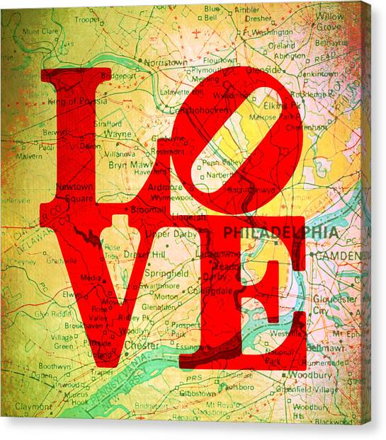 Philly Canvas Print - Philly Love V12 by Brandi Fitzgerald