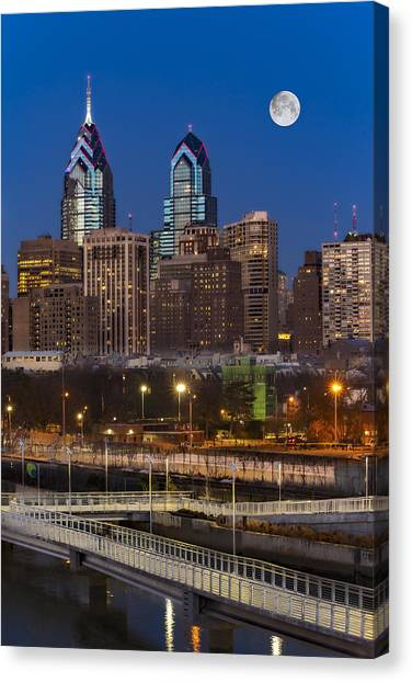 Philadelphia Skyline Canvas Print - Philly Skyline Full Moon by Susan Candelario