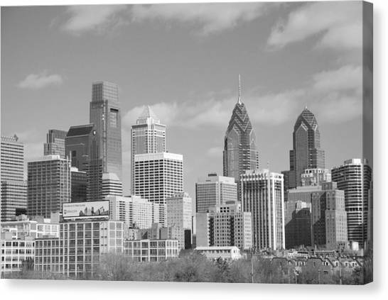 Philly Skyscrapers Black And White Canvas Print