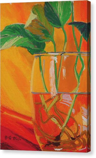 Philodendron In Glass Canvas Print