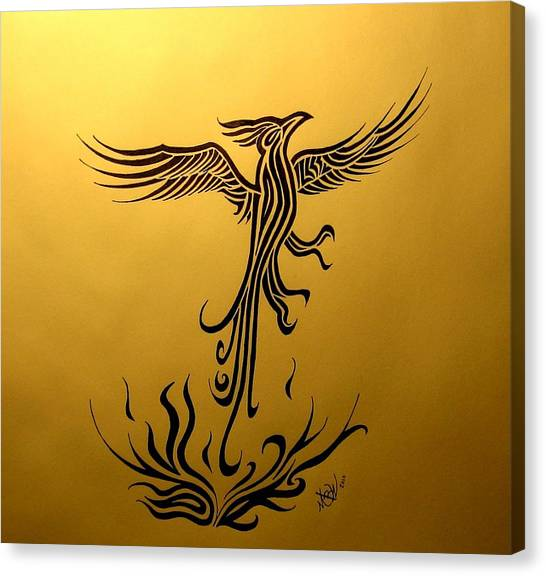 Canvas Print featuring the drawing Phoenix by Michelle Dallocchio