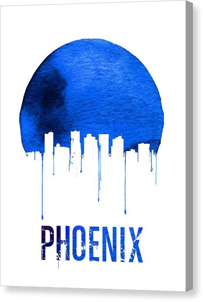 Phoenix Canvas Print - Phoenix Skyline Blue by Naxart Studio