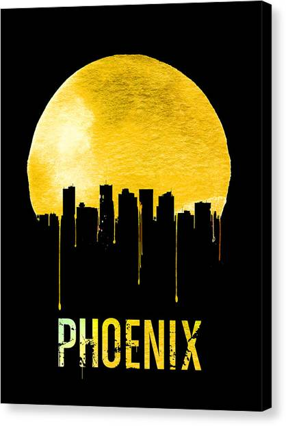 Phoenix Canvas Print - Phoenix Skyline Yellow by Naxart Studio