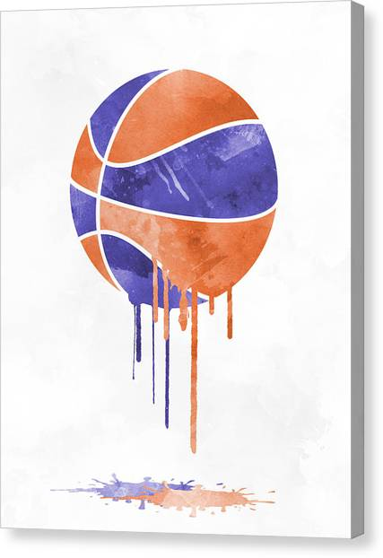 Phoenix Suns Canvas Print - Phoenix Suns Dripping Water Colors Pixel Art by Joe Hamilton