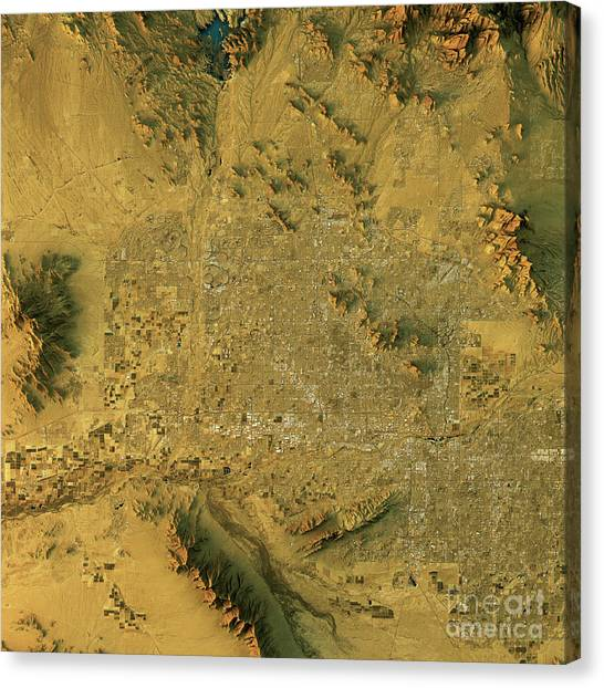 Cartography Canvas Print - Phoenix Topographic Map Natural Color Top View by Frank Ramspott