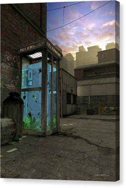 Tropical Sunset Canvas Print - Phone Booth by Cynthia Decker