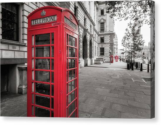 Phone Booths In London Canvas Print