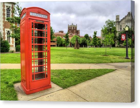 University Of Oklahoma Norman Campus University Of Oklahoma Canvas Print - Phone Home From Ou by JC Findley