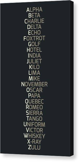 Nato Canvas Print - Phonetic Alphabet by Zapista
