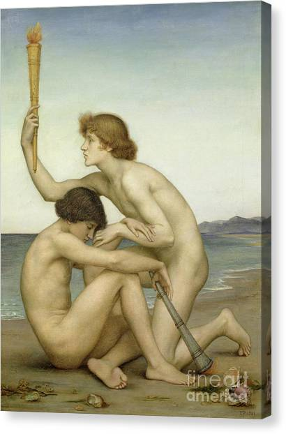 Low Tide Canvas Print - Phosphorus And Hesperus by Evelyn De Morgan