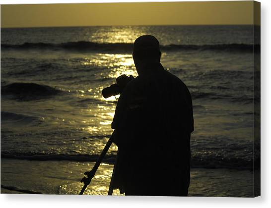 Photographer And Atlantic Ocean Sunrise Canvas Print by Darrell Young
