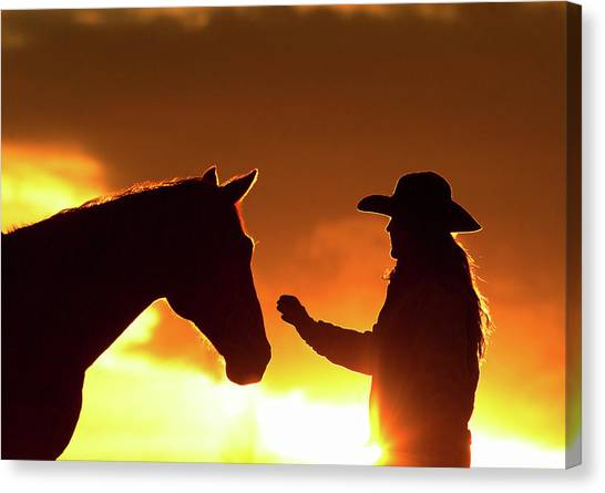 Canvas Print - Cowgirl Sunset Sihouette by Shawn Hamilton