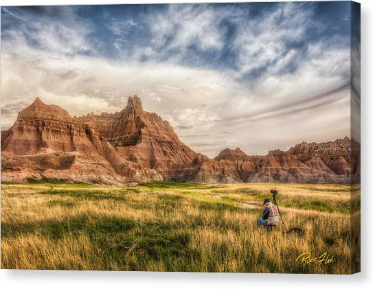 Photographer Waiting For The Badlands Light Canvas Print