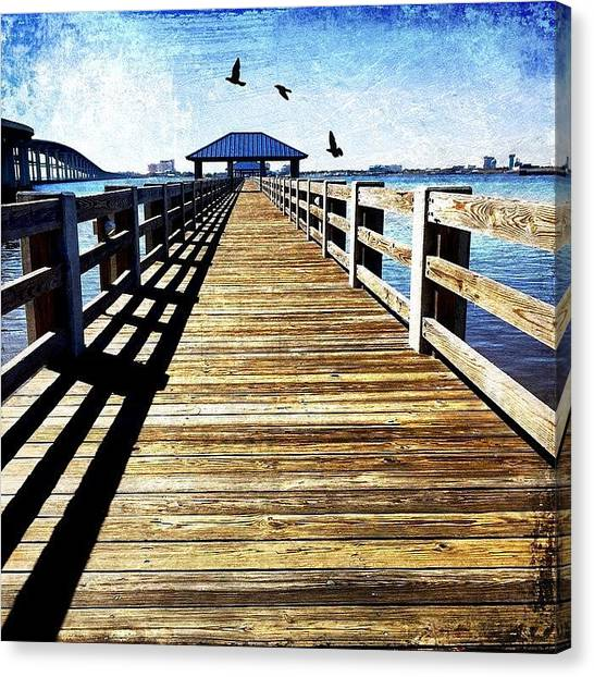Scenic Canvas Print - Biloxi Bay Pier by Joan McCool