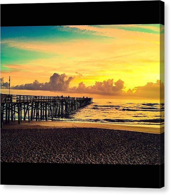Beach Sunrises Canvas Print - Photoshop Edit Of The Flagler Pier by Katie Ryan