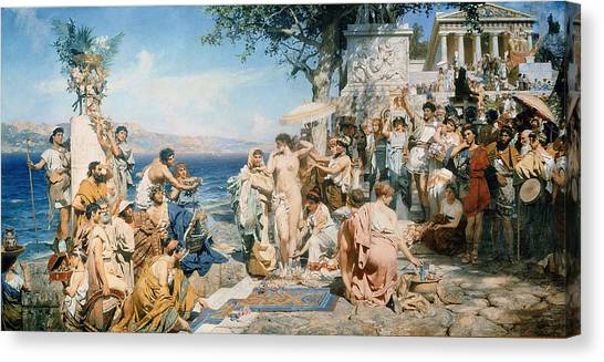 Saws Canvas Print - Phryne At The Festival Of Poseidon In Eleusin by Henryk Siemieradzki