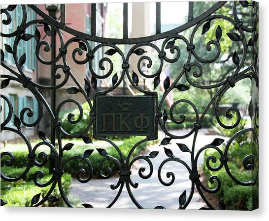 Pi Kappa Phi Canvas Print - Pi Kappa Phi Gate by Ed Waldrop