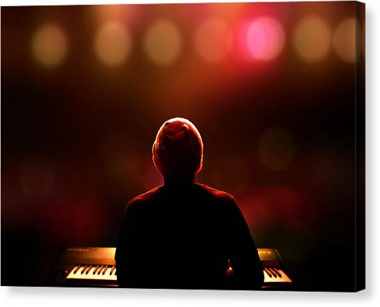 Synthesizers Canvas Print - Pianist On Stage From Behind by Johan Swanepoel